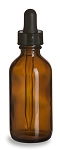 Amber Glass Bottle w/glass dropper - 2 oz