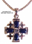 Jerusalem Cross with Lapis and Cubic Zirconia Necklace