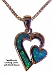 Two Hearts Necklace w/Opals and Silver