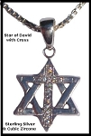 Star of David with Cross - Cubic Zircone