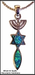 Menorah, Star & Fish Silver & Opals Necklace - 2 Sided
