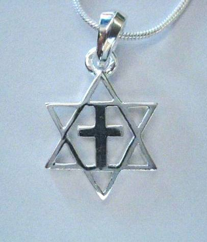 all Solid Sterling Sillver Star of David with Cross Necklace