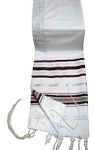 Prayer Shawl - Bungundy and Silver 24x72