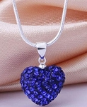 Crystal Heart Pendant - Purple