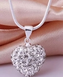 Crystal Heart Pendant - White