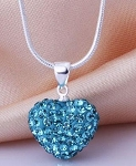 Crystal Heart Pendant -  Aqua Blue
