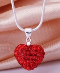 Crystal Heart Pendant - Red