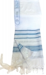 Prayer Shawl - Light Blue And Silver - 68x47