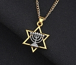 Menorah - Star Of David Pendant - Necklace