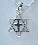 Star Of David with Cross - Sterling Silver Pendant