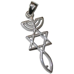 Menorah, Star & Fish Silver Necklace