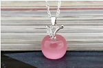 Small Pink Apple Opalite Pendant with Austrian Crystal - 925 Sterling Silver Chain