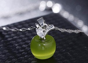 Small Green Apple Opalite Pendant with Austrian Crystal - 925 Sterling Silver Chain