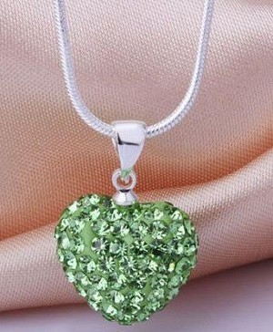 Crystal Heart Pendant - Emerald Green