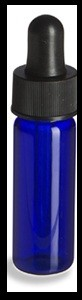 Cobalt Glass Vial - dropper cap - 1 dram