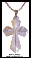 Mother Of Pearl - Diamond Cross Necklace