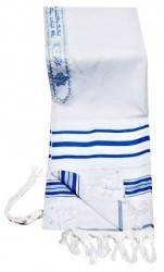 Prayer Shawl - Blue And Silver 24x72